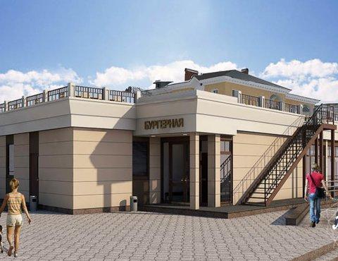 Дизайн фасада кафе 180 м2 на набережной г. Краснотурьинск
