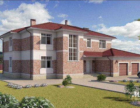 Дизайн фасада коттеджа 379 м2 в п. Мельница